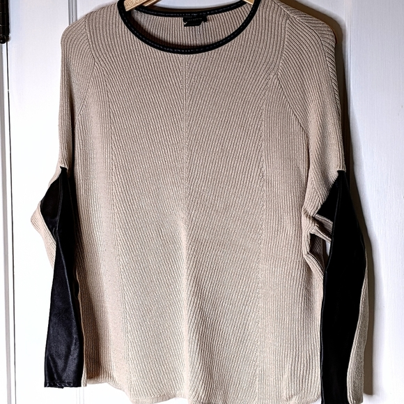 Ann Taylor Tan Leather Trimmed Crew Neck Sweater